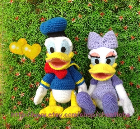 Donald Duck Amigurumi Pattern Free : Donal duck and Daisy duck 8.5 inches PDF amigurumi by ...