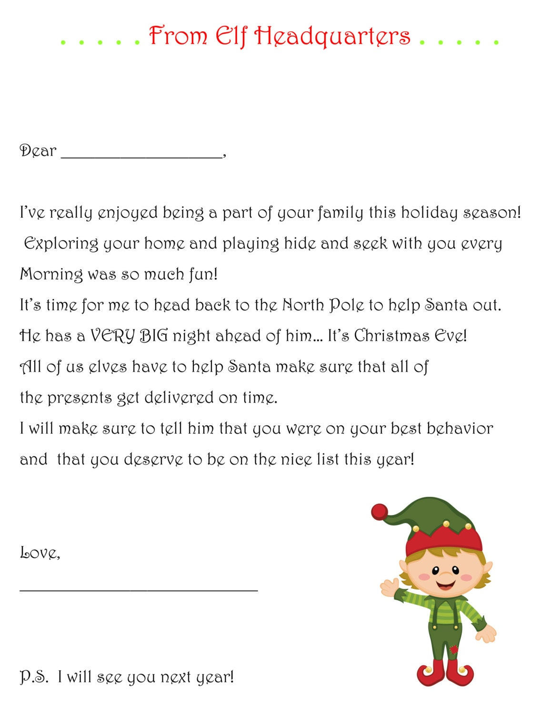 Items similar to Elf on the Shelf Goodbye Letter- PDF Elf on the shelf ...