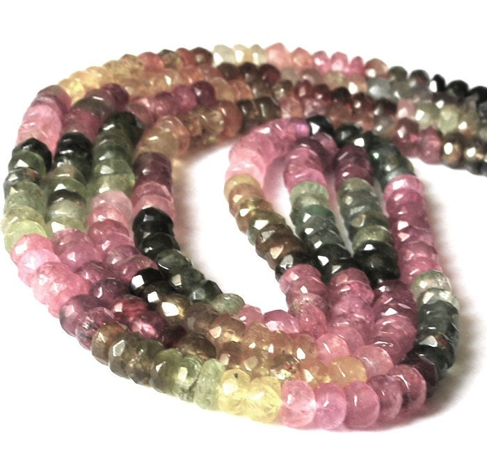 1/2 strand Multi Tourmaline Faceted Rondelles - 4mm