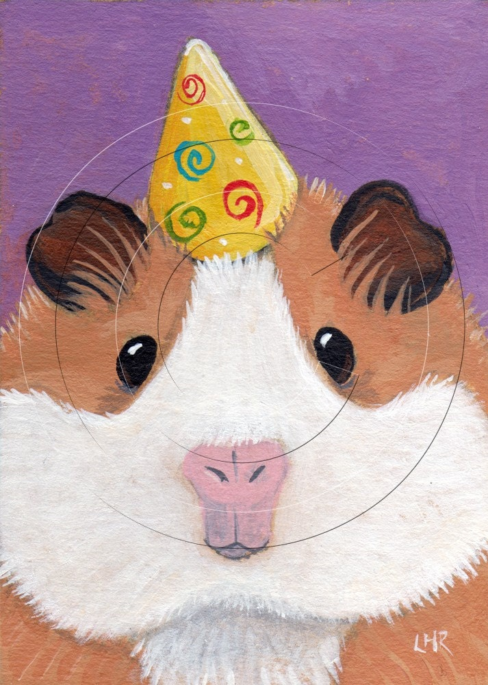 Original acrylic ACEO - Party Guinea Pig - CAVY Rodent ART