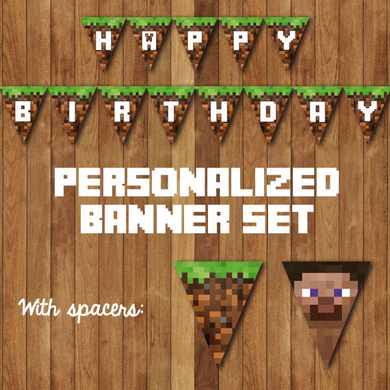 This is a graphic of Luscious Minecraft Birthday Banner Free Printable