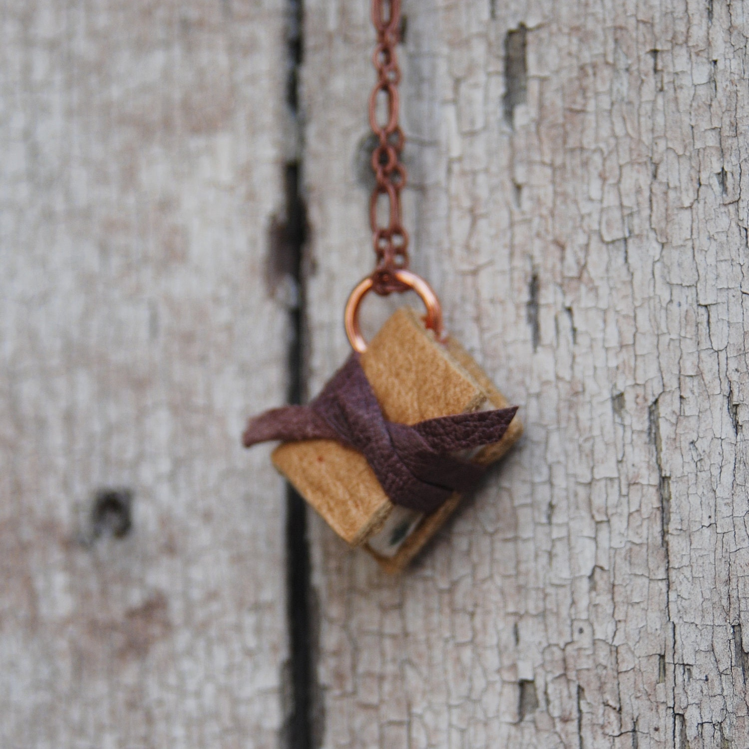 Book Necklace: Small, golden and plum, reclaimed leather. - PegandAwl