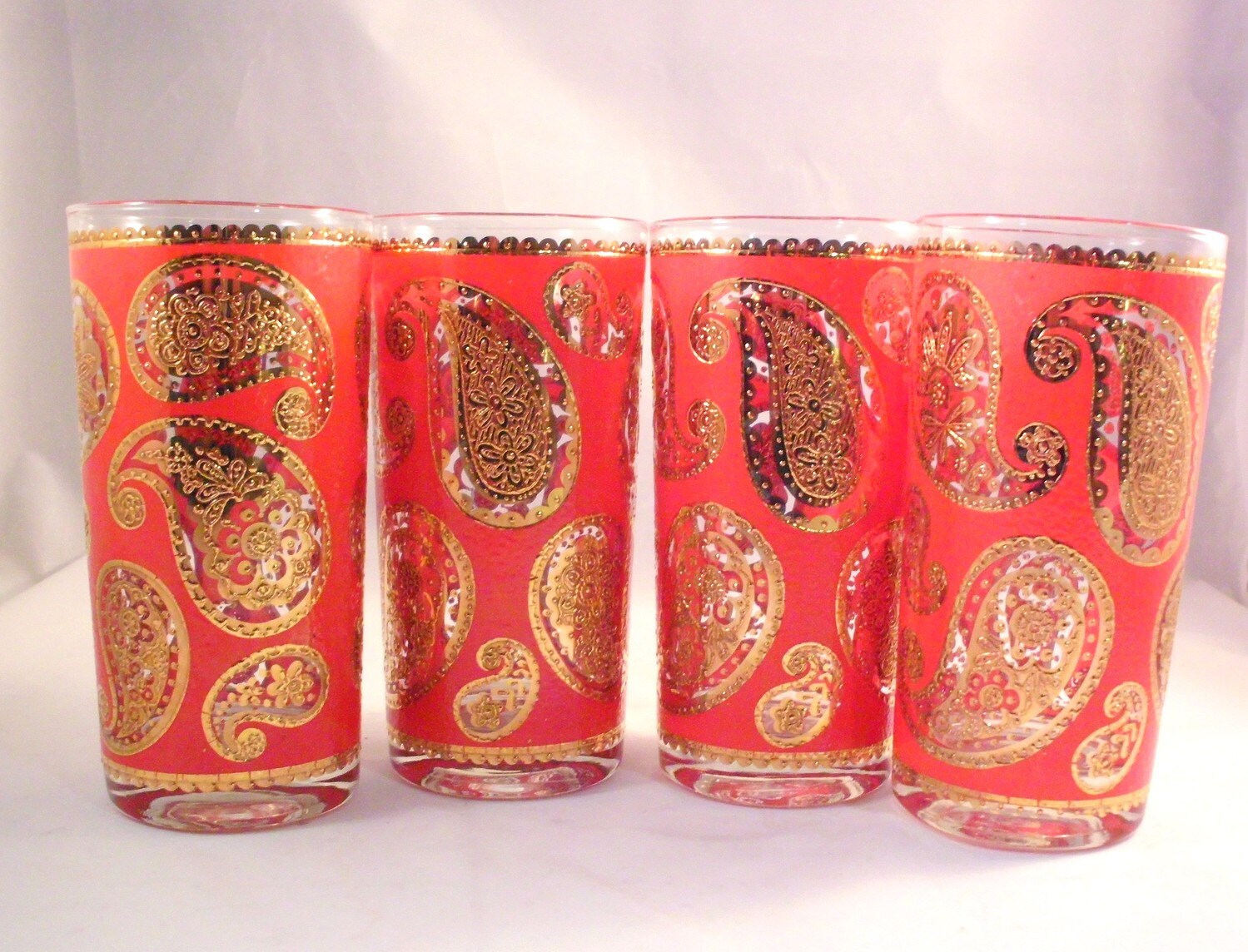 Retro Mid Century Red and Raised Gold Paisley Bar Glasses Set of Four
