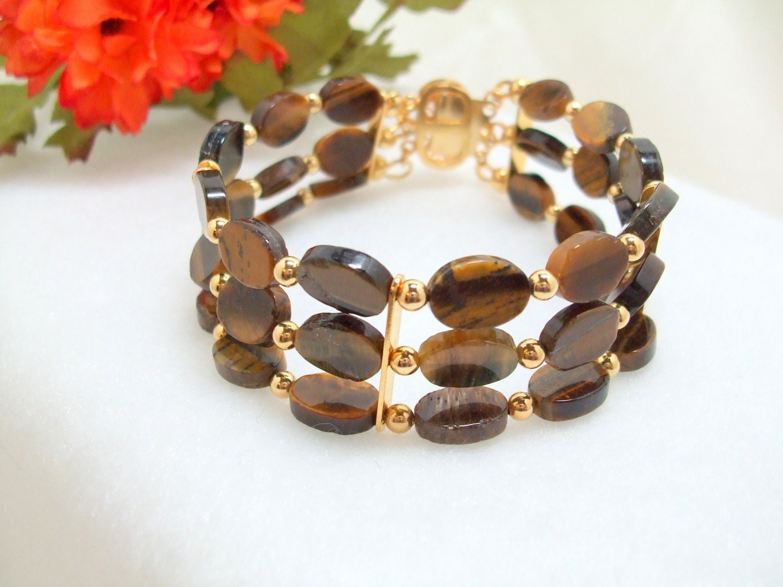 TigerEye Triple Strand Bracelet, Elemental