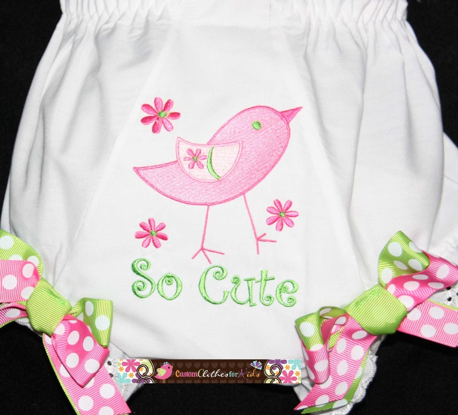 Create Your Own Personalized Custom Bloomers Diaper Cover Baby Girl Toddler So Cute Birdie Double Ribbon Birthday Photoshoot Free Monogrammed