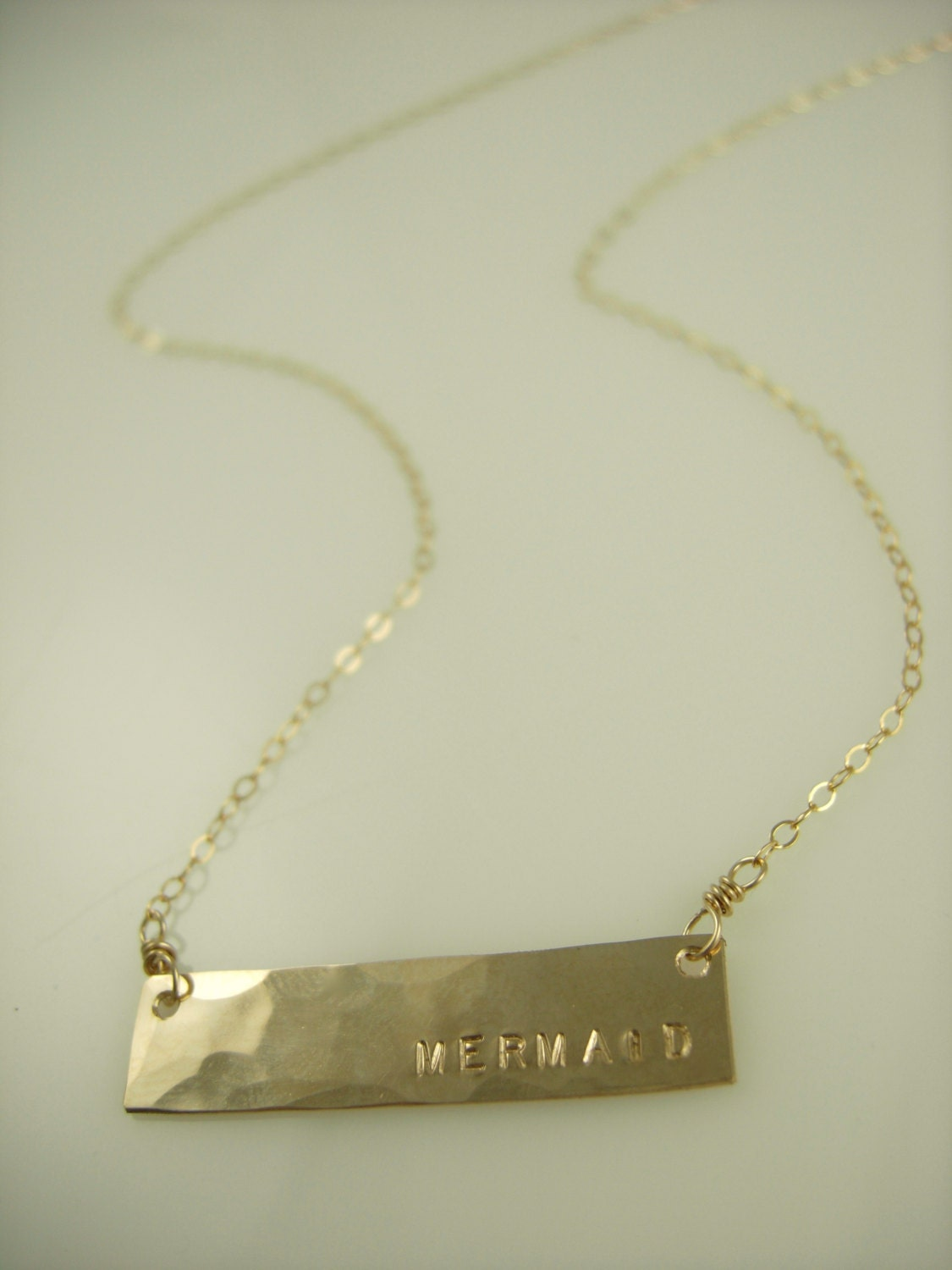hammered gold bar necklace initial by jamesmichellejewelry