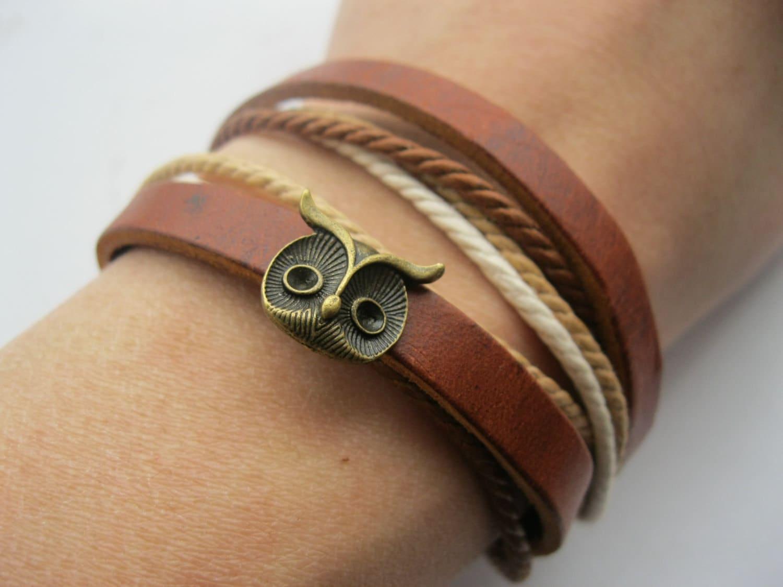 Bracelet-antique bronze owl real leather bracelet,real leather bracelet