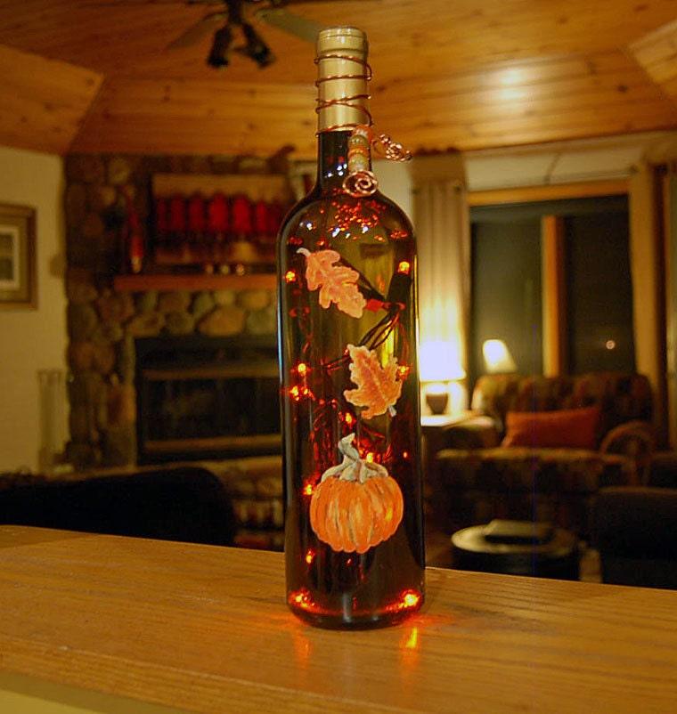 Wine bottle light orange pumpkin autumn by LightBottlesByVicki