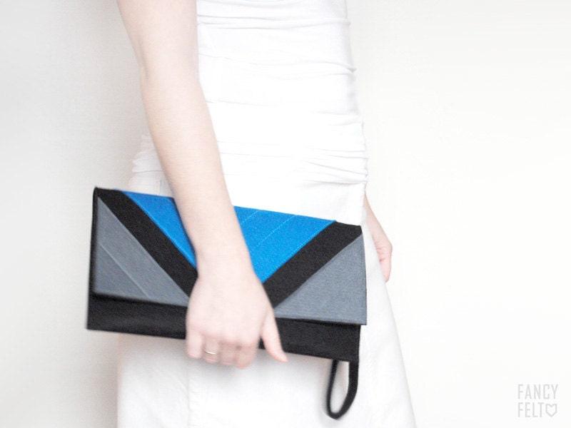 Black Friday - 15% off Geometric black blue and grey felt clutch bag