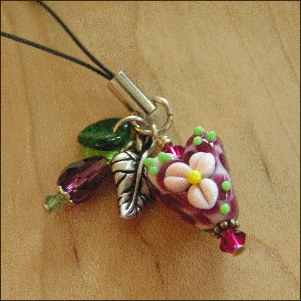 EBTW SALE - Lampwork Heart Cell Phone Charm or Zipper Pull