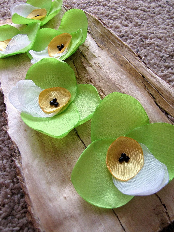 Ручной пришить цветок аппликации (6 шт) - зеленый лайм Орхидеи