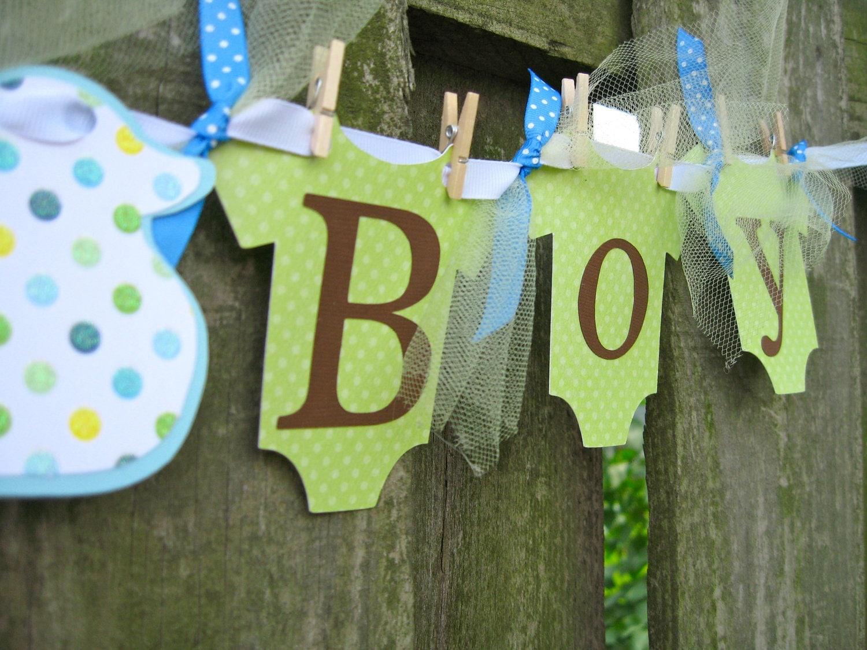 clothesline baby shower banner it 39 s a boy green by elegantevee