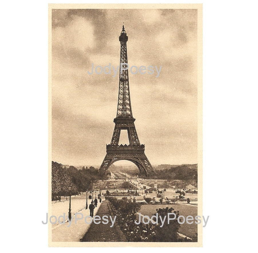 Vintage French Postcard Digital Download Eiffel Tower Paris France 1915
