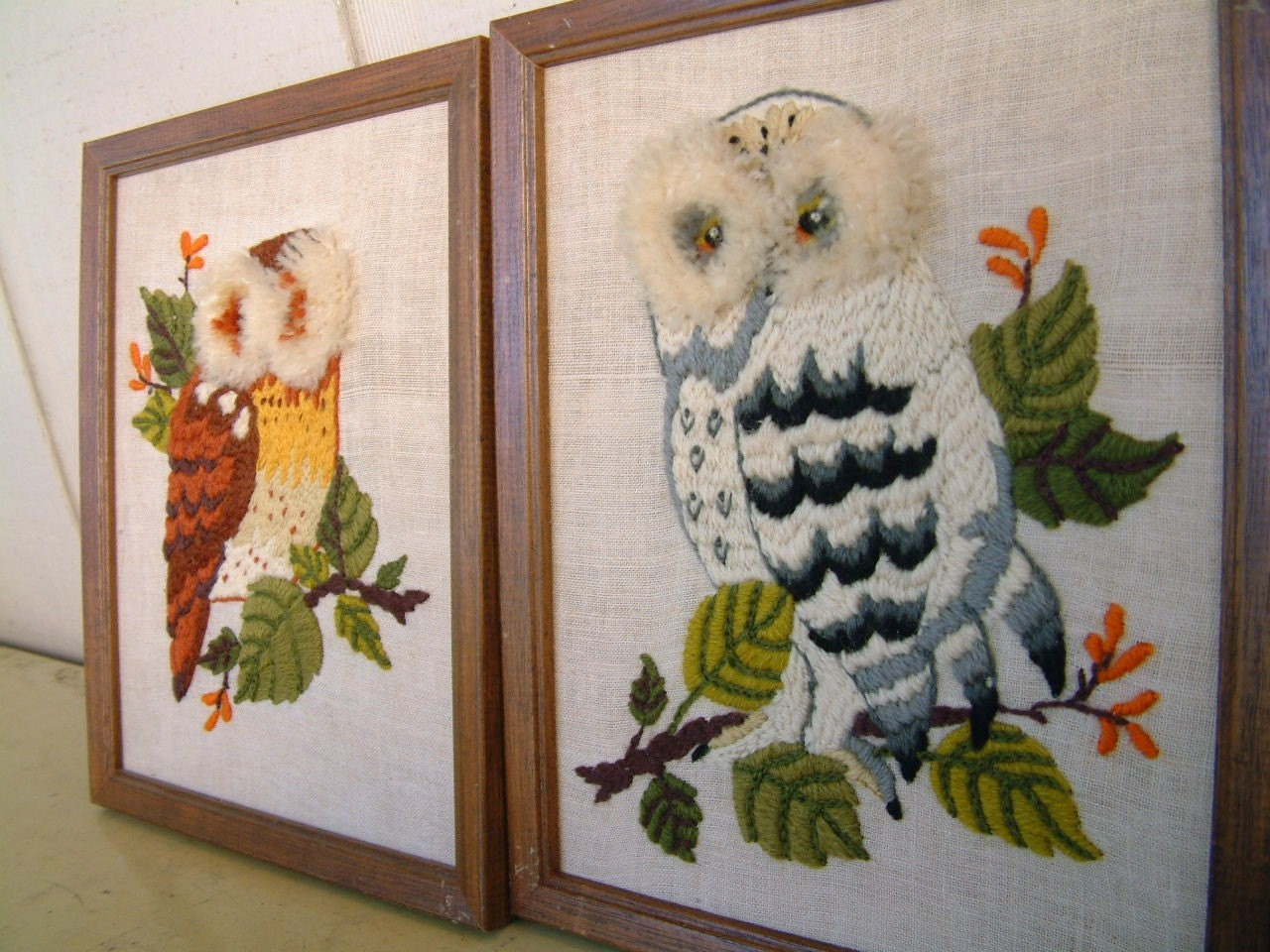 Set of Embroidered Crewel Owls
