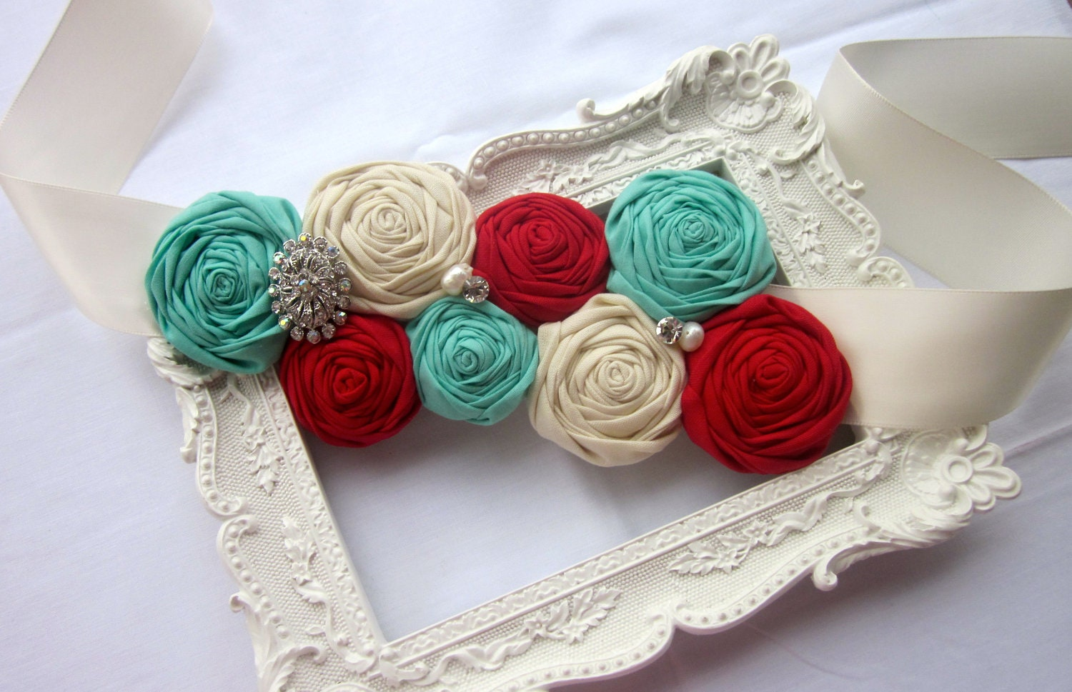 Rolled Rosette Sash for Bride, Bridesmaids, Flower Girls, or Maternity Shoots in Red, Tiffany Blue, and Ivory