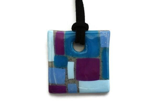 OOAK Jewelry  Blue and purple square pendant by KireinaJewellery |  Craft Juice