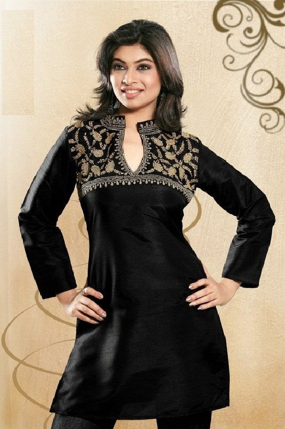 سیاه ابریشم لباس کوتاه پنبه با آستین کامل