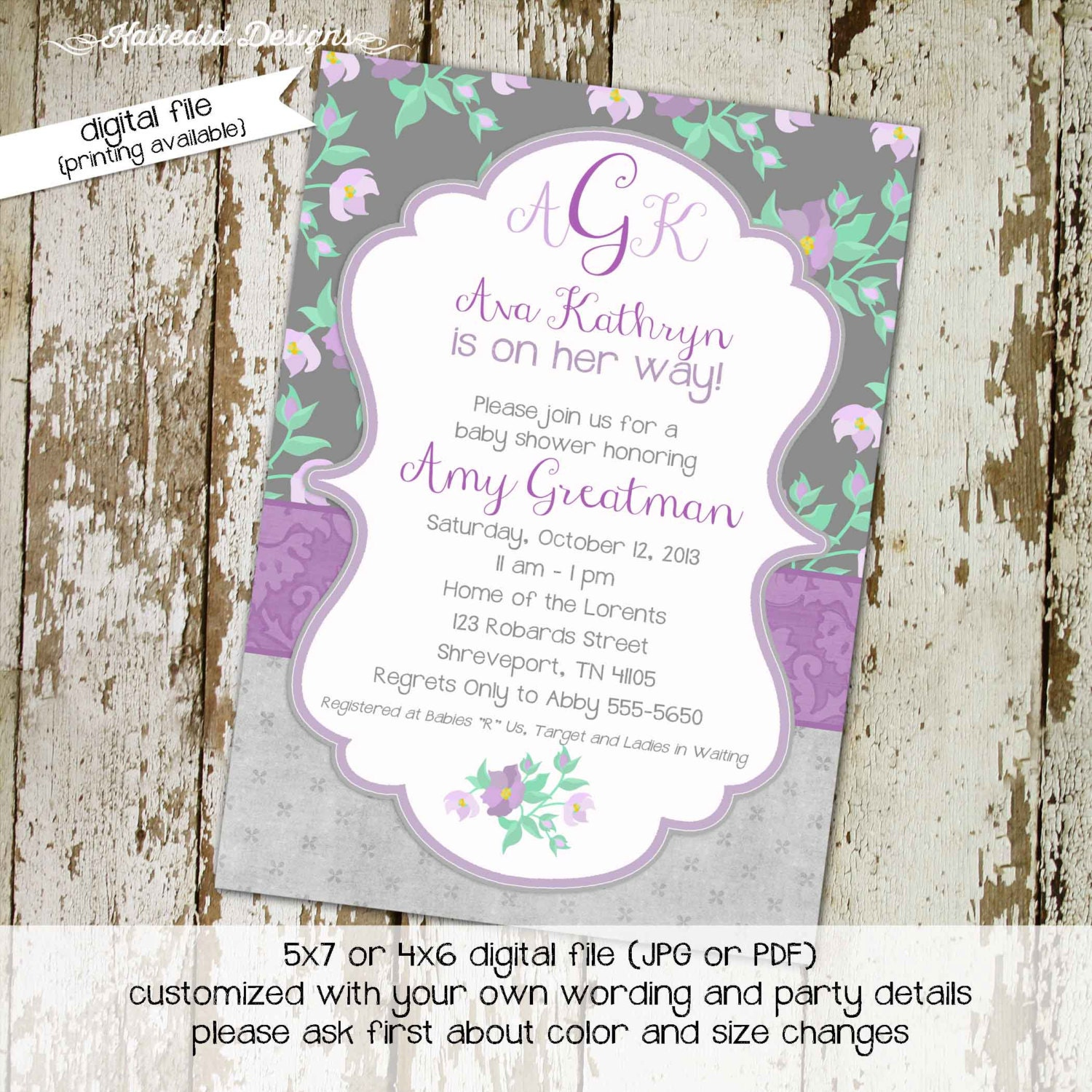 baby girl shower invitations shabby chic lavender gray purple floral
