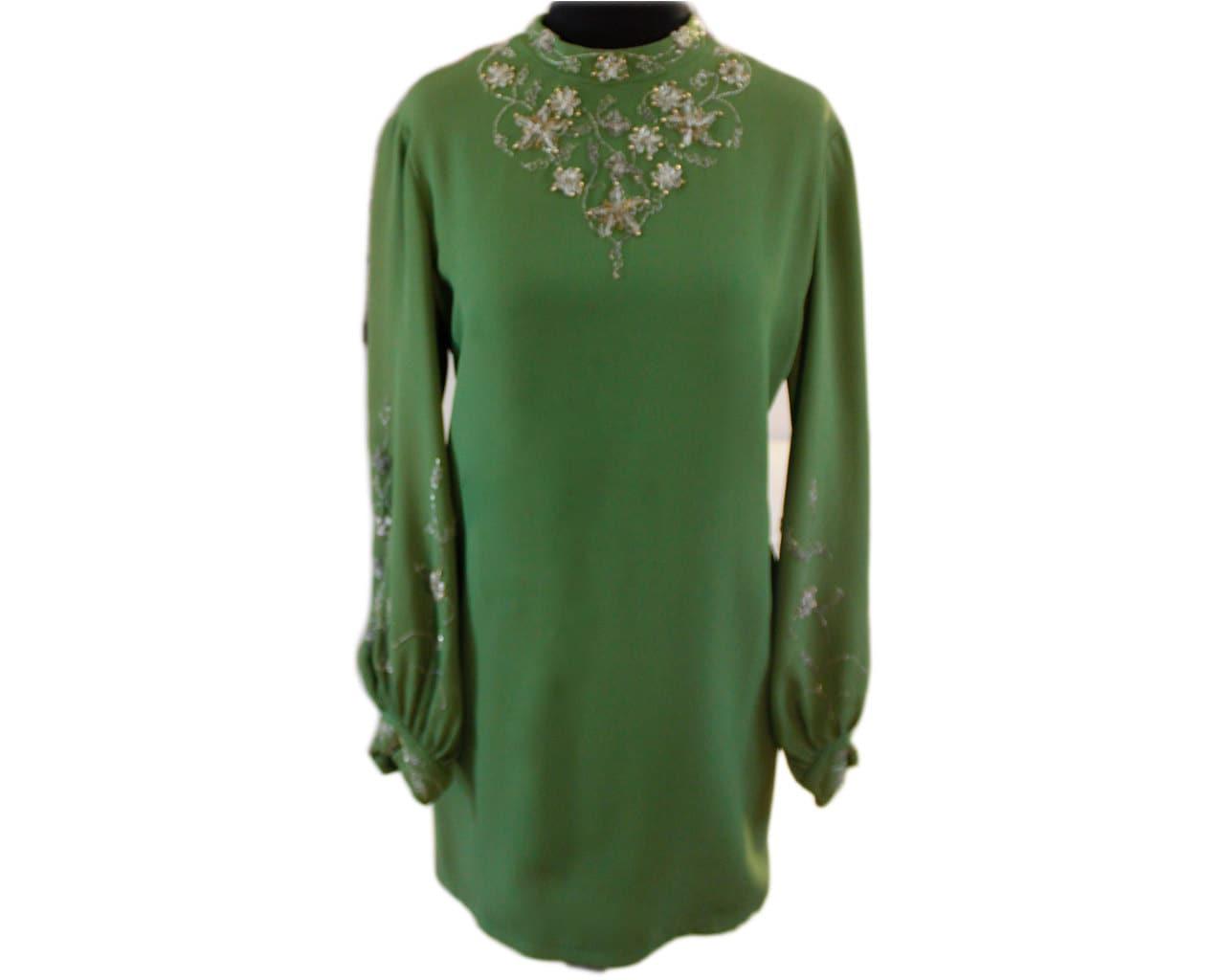 Vintage Kelly Green Beaded MiniDress Shirt Dress