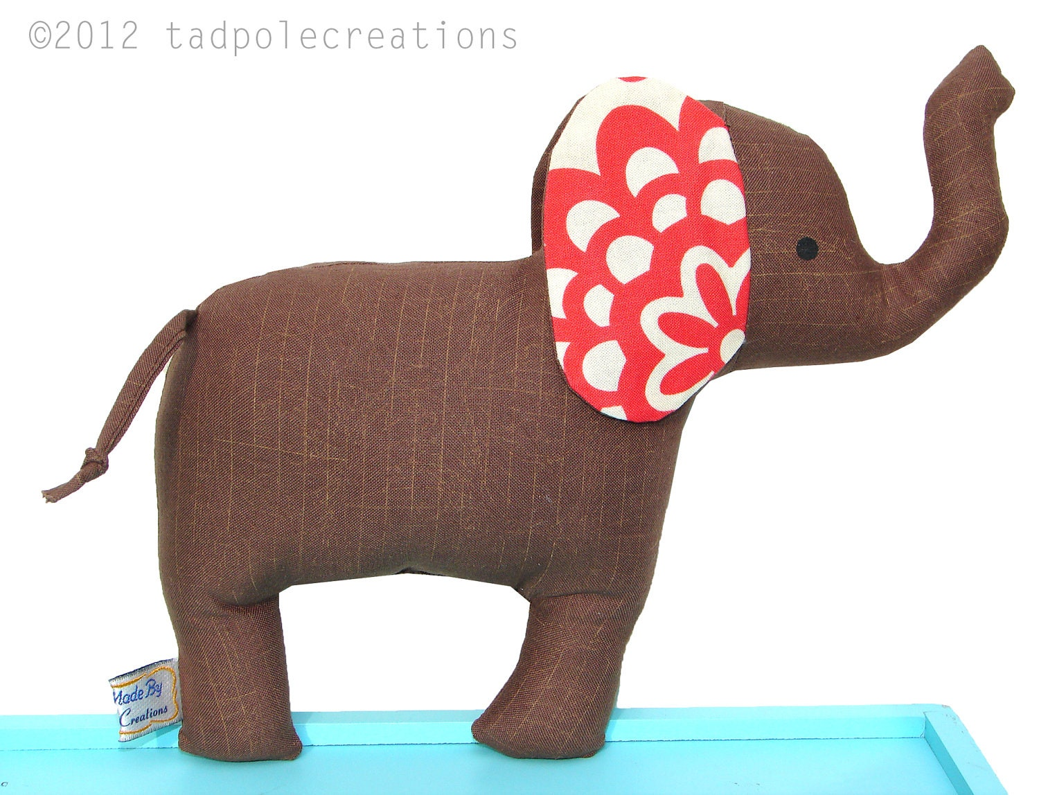 Cloth Elephant Toy with Rattle - Brown with Red Ears - Baby Safe - Toddler - Child Friendly - Gift for Kids Young and Old