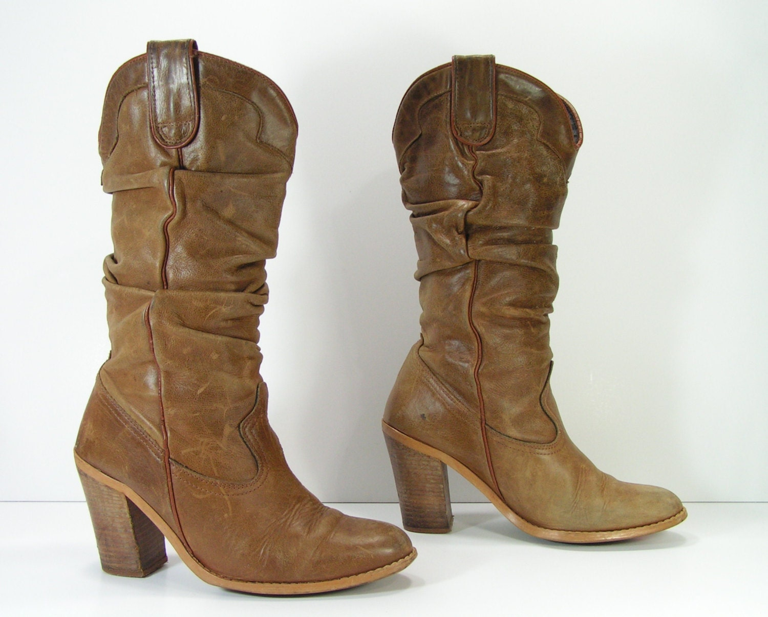 slouch cowboy boots womens 7 5 m b brown by vintagecowboyboots
