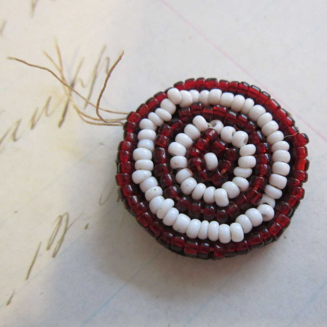 small handmade vintage pin - TARGET - brooch, safety pin, beaded pin