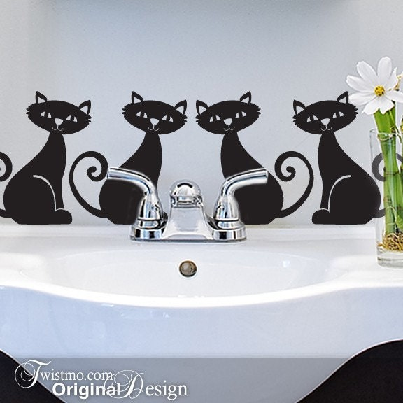 Vinyl Art Decals - 4 Kittens, Cats