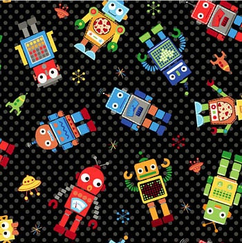 Run run robot black childrens fabric 2 yards by for Robot quilt fabric