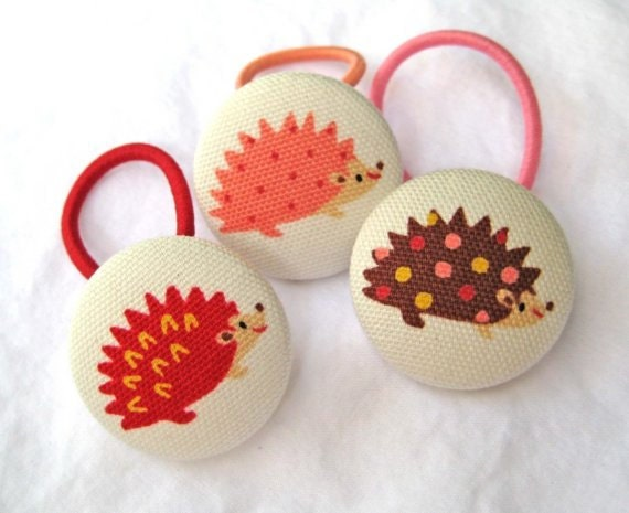 Fabric Covered Button Ponytail Holders - Set of 3 - Animal Collection - Hedgie and Friends