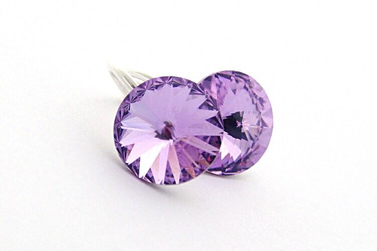 Lavender Earrings, Swarovski Rivoli Earrings, Rivoli Crystals, Violet Shimmer Color, Sterling Silver 925 - cardioceras
