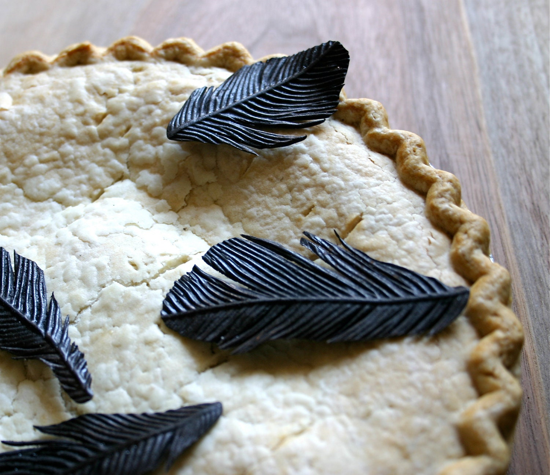 Edible Black Bird Feathers -Chocolate Flavor -12 -Confection Embellishment -Bride's Magazine Winter 2013 - andiespecialtysweets