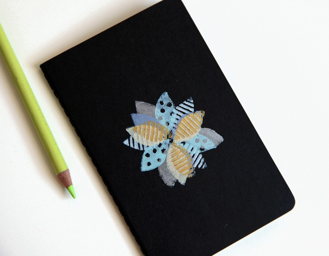 patchwork blossom, blockprinted moleskine cahiers notebook, limited edition