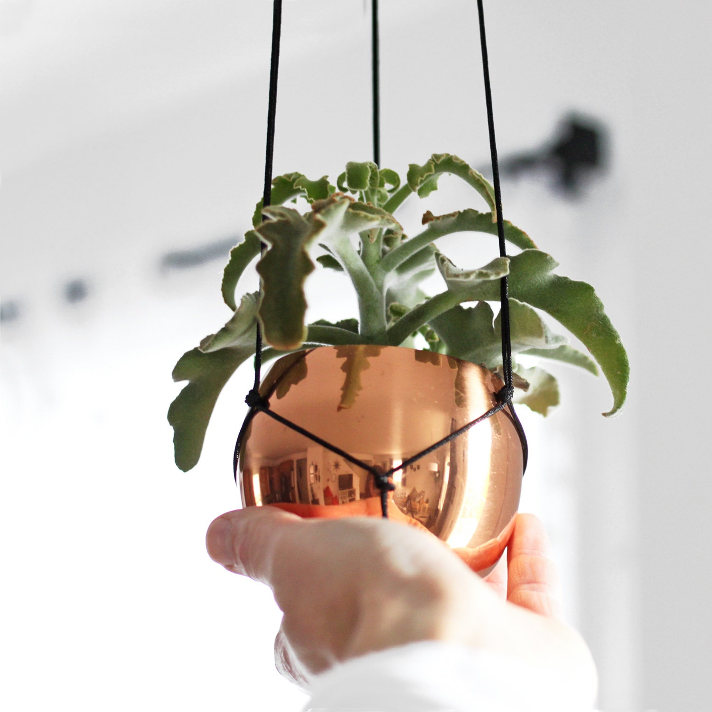 Vintage Copper Cup Hanging Planter / Modern Macrame Planter / Plant ...