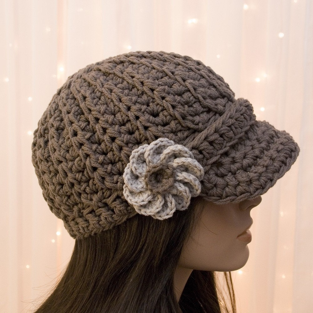Crochet Hat Patterns Flowers : Cotton Crochet Newsboy Hat with Flower For Women by LadyBaron