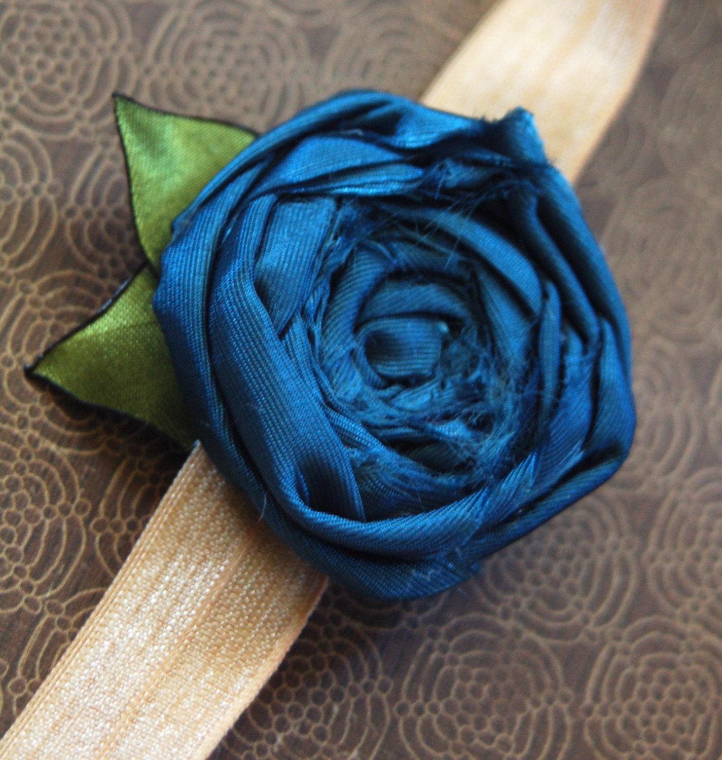 Cornflower Blue Fabric Rosette Headband Teen/Adult