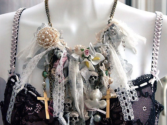RAGDOLL CORPSE BRIDE STATEMENT TEXTILE FRINGE NECKLACE - BOHEMIAN FRIPPERY, LOLITA GOTHIC STYLE, SHABBY CHIC -HANDMADE