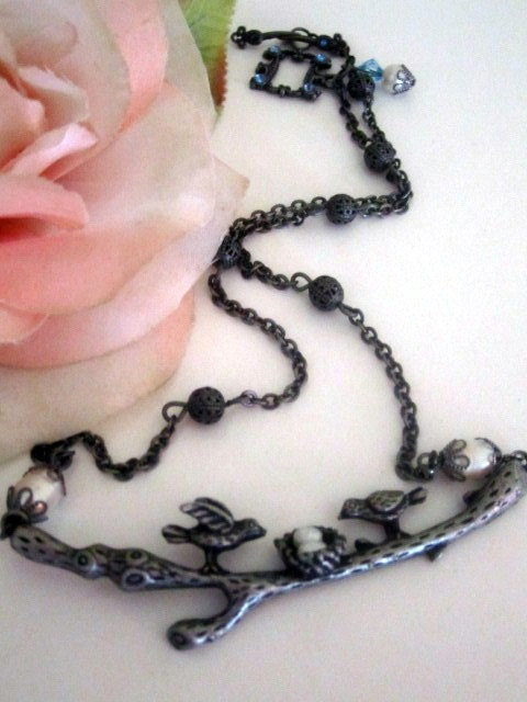LoveBirds Vintage Inspired Necklace in Antique by SnobishDesign