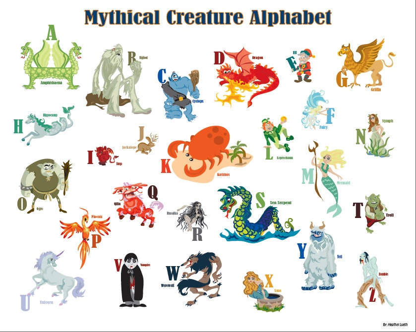 Items Similar To Printable Mythical Creature Alphabet Poster