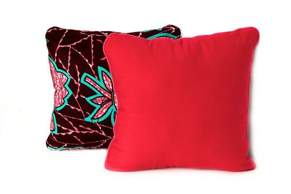 African Wax Print Cushion - Throw Pillow (Mariama Fuschia)