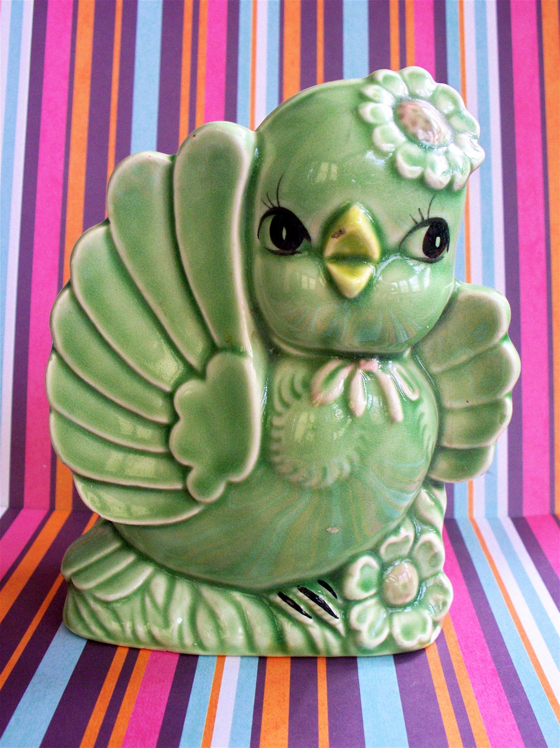Vintage Kitsch Cute Norleans Japan Green Bird Birdie Planter