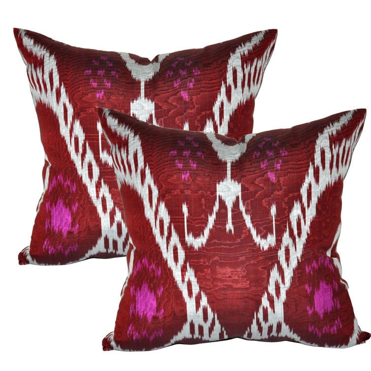 Set of 2 Decorative Ikat pillow covers Maroon by EasternHomeDecor
