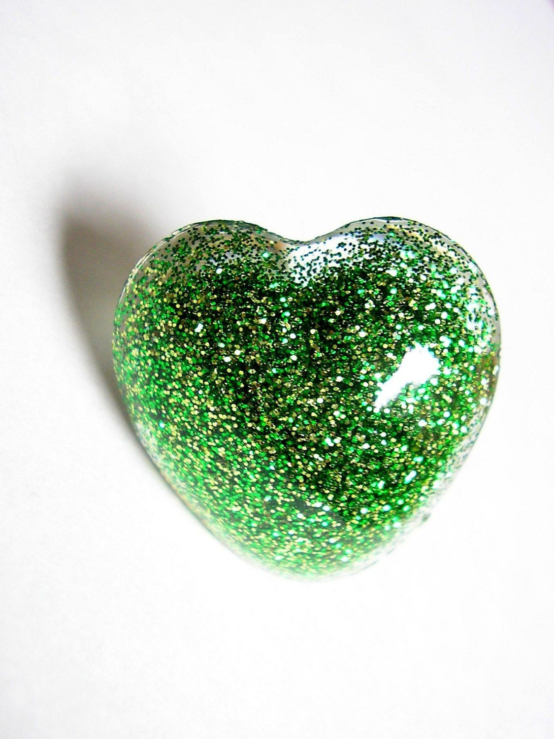 Bright Green Glitter Heart Resin Ring