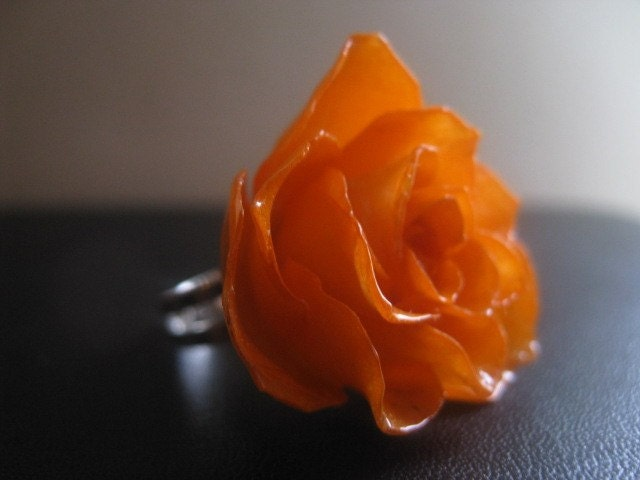 Etsy :: RoyalPrincess :: Romantic Juicy Orange ROSE RING made from Real ROSE - Spring Fashion Collection 2009