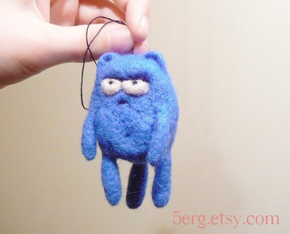 Displeased Kitty Tree Ornament  Needle Felt Cat Plushie