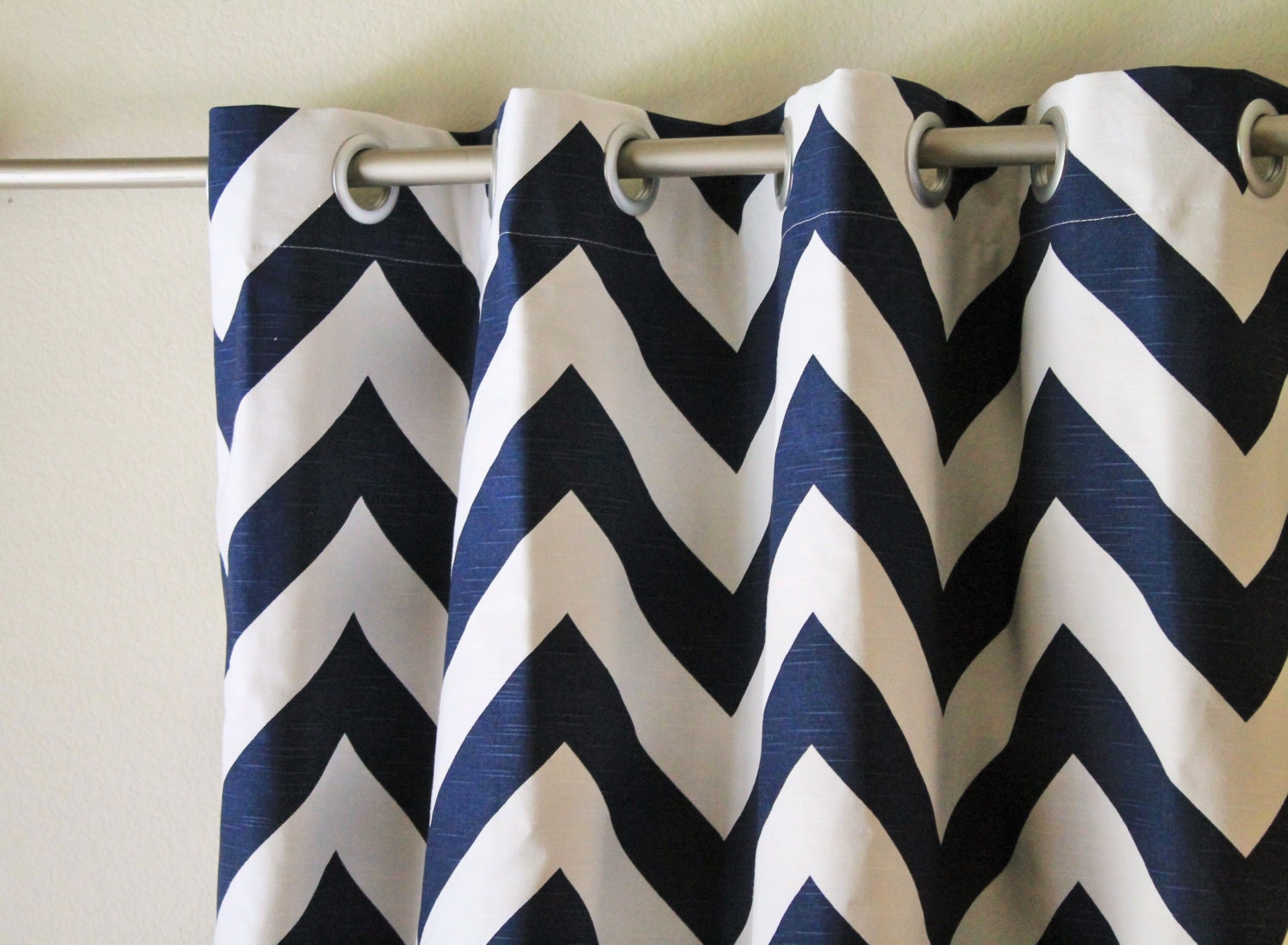 Navy blue and white big zippy chevron curtain panels drapes curtains