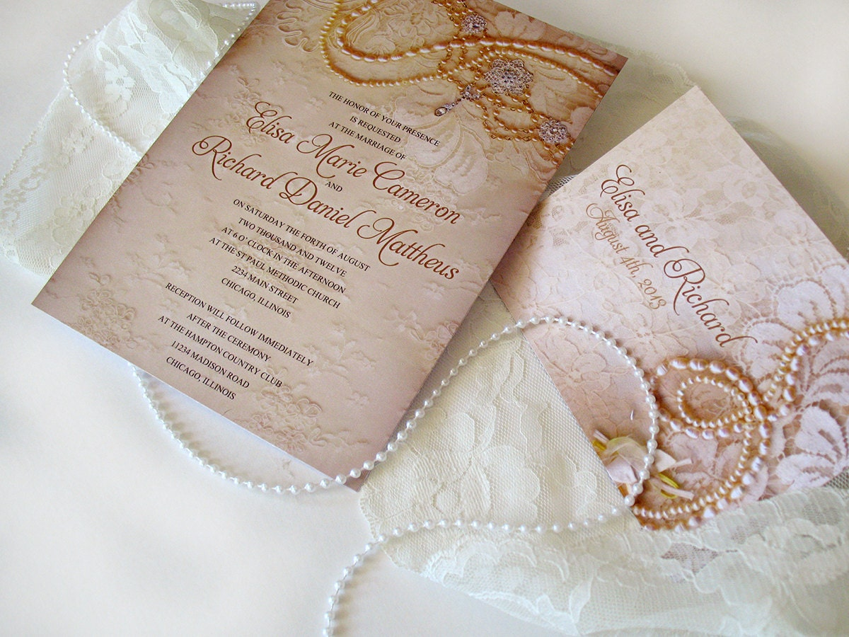 Wedding invitation sample lace by designedwithamore on etsy for Pearl wedding invitations