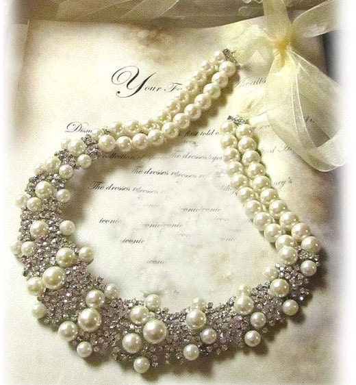 bridal statement, Bridal bib necklace , pearl rhinestone ribbon bridal necklace, bridal crystal necklace,wedding jewelry