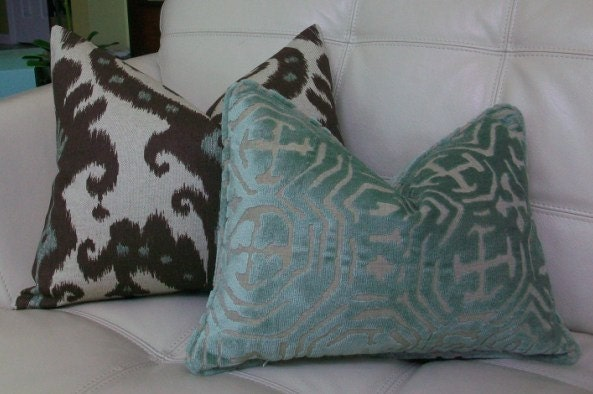 Decorative Designer Lumbar Pillow Cover 16X20 - IKAT PRINT- Chocolate Brown and aqua on natural background