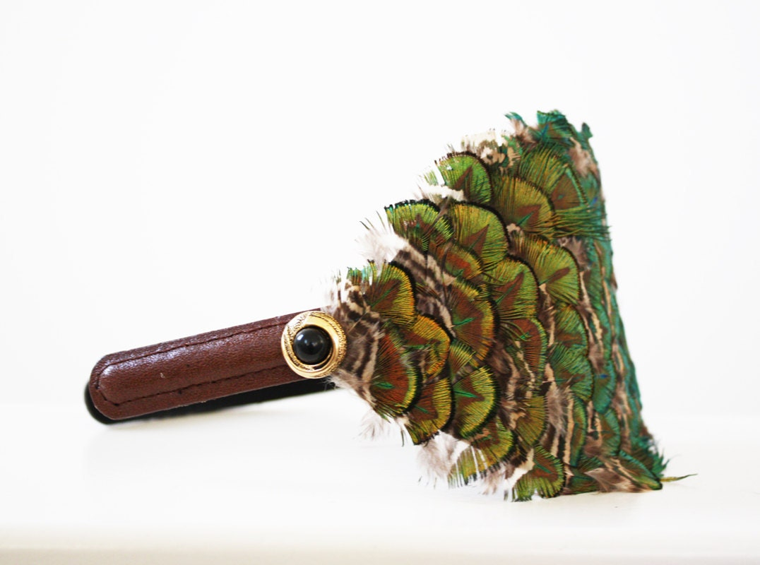 Peacock Feather and Leather Headband - Rockstarlette