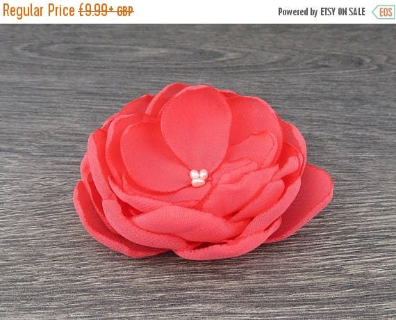 ON SALE  Coral Hair Flower  Coral Wedding  Coral Bridesmaids  Coral Flower Girls  Coral Hair Clip  Coral Accessory  Coral Flower Clip